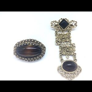 Jewelry - Vintage Brooch Lot Root beer Chatelaine